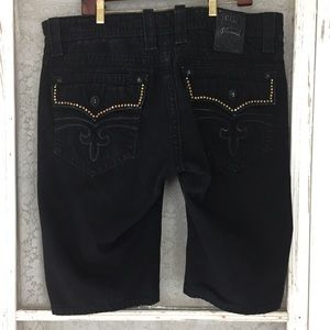 Rock Revival Steven Distressed Shorts Black 38 LL7